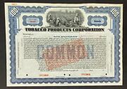 American Banknote Company Specimen Stock Certificate. Tobacco Products Co.