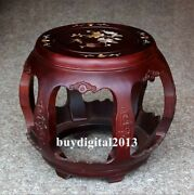 Rosewood Red Wood Handwork Inlay Shell Peony Flower Bird Stool Small Seat Chair