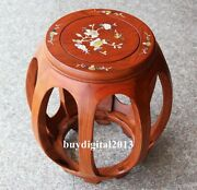 Chinese Rosewood Palisander Handcarved Wood Inlay Shell Stool Small Seat Chairs
