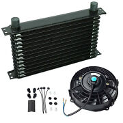 Black Universal 13 Row 10an Engine Transmission Oil Cooler + 7 Electric Fan Kit