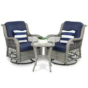 3 Pcs Patio Wicker Bistro Furniture Set Navy Cushion Chairs W/ Table For Outdoor