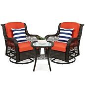 3 Pcs Patio Wicker Bistro Furniture Set Rust Cushion Chairs W/ Table For Outdoor