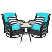 3 Pcs Patio Wicker Bistro Furniture Set Teal Cushion Chairs W/ Table For Outdoor