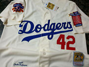 Dodgers 42 Jackie Robinson Cooperstown Limited Edition Patch Sewn Jersey Ivory