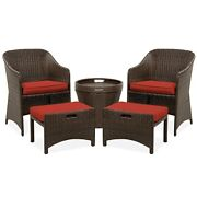 5pc Outdoor Wicker Patio Bistro Furniture Set Red Cushion Chair W/ Storage Table