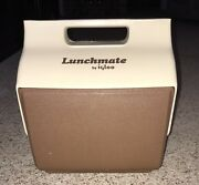 Vintage 1982 Lunchmate By Igloo Brown Lunch Box Cooler Original Tray Near Mint