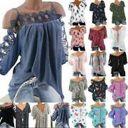 Lady Floral Off Shoulder Blouse Tunic Tops Summer Holiday Casual Baggy T-shirt