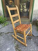 One Of A Kind Artisan Crafted Antique Rocking Chair W/ New Hickory Splint Seat