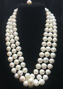 Old Heavy Huge 13mm Lustrous Creamy White South Sea Pearl Estate Necklace 244g
