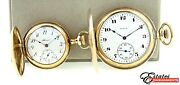 Lot 2 Vintage Full Hunter Pocket Watches Illinois From 1909 And Elgin 1923