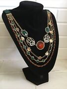 Vintage Egyptian Revival Snake And Scarab Bezel Jeweled And Beaded Bib Necklace
