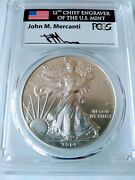 2014-w 1 Burnished Silver Eagle Pcgs Sp70 Mercanti Population 32