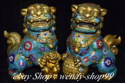 9 Old China Cloisonne Bronze Palace Feng Shui Foo Dog Lion Ball Statue Pair