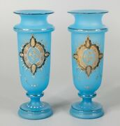 Antique 19th Century French Blue Turquoise Opaline And Gold Gilt Vases