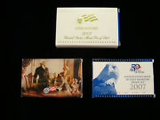 2007 Us Mint Proof Set, 50 State Quarter Proof Set, And Presidential 1 Proof Set