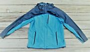 Columbia Spring Nylon Parka Teal Blue And Black Waterproof Womenand039s Xl Euc