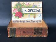 Vintage Cigar Box Rare Jk Special Joesph Kubes Schenectady Ny Antique Lithograph