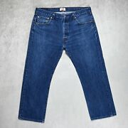Mens 501 Straight Jeans Size W38 L28 Regular Fit Button Fly Mid Blue Denim
