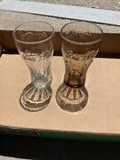 2 Vintage Mcdonald's Coca Cola Coke Brown Amber 16oz Drinking Glass Clear