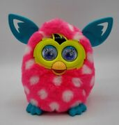 2012 Hasbro Furby- Boom- Pink W/ White Polka Dots Blue Ears- Tested And Working