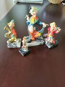 Simonelli Clown Figurines On Marble Bases - Set Of 4 - Made In Italy