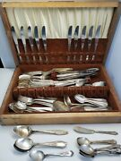 Lot Of 101 Vintage Silverplate Flatware Utensils Forks, Spoons And Knives Mixed