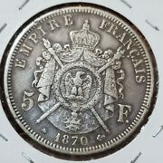 1870 France 5 Francs 90 Silver ▪︎ Large Morgan Dollar Sized Silver World Coin