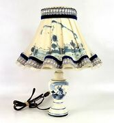 Vintage Dutch Delft Blue And White Lamp W/shade Hand Painted Windmill Holland Euc