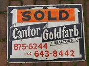Vintage Real Estate Sign Cantor Goldfarb 1960s 70s Manchester Vernon Ct