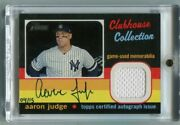 2020 Topps Heritage Aaron Judge Game Used Jersey Auto /15 Sp New York Yankees