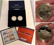 Queen Mary And Mary 2 Sterling Silver Medals And Ocean Liner Stamps Boxed Set W/coa