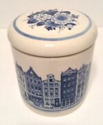 Royal Delft 1653 Covered Jar Hand Painted Blue/white 4.75 X 4.12 Guc See Notes