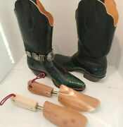 D.w. Frommer Ii Hand Welted Bespoke Green Alligator Black Kangaroo Cowboy Boots