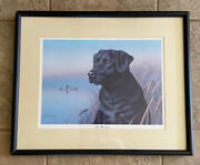 Ronald J Louque All Business Black Labrador Dog And Ducks Print Framed Numbered Si