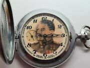 Vintage 1965 Molnija Stalin Ussr 18 Jewels Chrome Hunter Pocket Watch Working