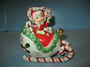 Beautiful Vintage Xmas Girl W/ Presents On Candy Cane Sleigh W/ Repair