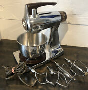 Vintage Sunbeam Mixmaster Mixer Chrome Brown Electric Bowl Beaters Works 12