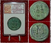Ancient Byzantine Empire Justin Ii And Sophia Large Museum Quality Coin
