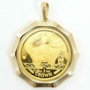 Isle Of Man Cat 1 5oz Coin 24k Yellow Gold 18k Pendant Top Free Shipping Used