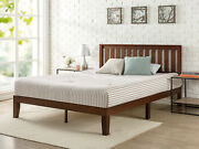 37andrdquo Wood Platform Bed Frame With Headboard Twin Size Beds Frames Natural Brown