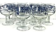 5 1/2 Denmark Blue By Franciscan Footed Tumbler Wine Drinking Glasses