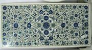24 X 48 Inches Marble Dining Table Top Inlay Lapis Lazuli Gemstones Center Table