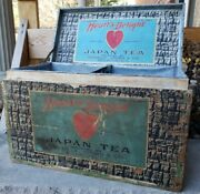 Antique Advertising Box Hearts Delight Japan Tea Wellsville Ny Tin Lined Graphic