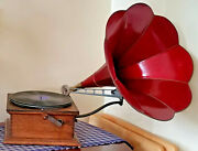 1909 Standard Talking Machine Co Oak Phonograph And Red Horn Style X And 10 Records