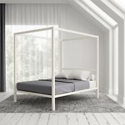 Modern Canopy Queen Size Metal Bed White Color Beds For Bedroom