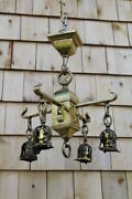 Antique Hammered Brass Or Copper Mission 4 Arms Ceiling Light Fixture Arts Craft