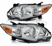 Headlights Fits 2011-2013 Toyota Corolla Front Headlamp Assembly Chrome Housing