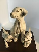 Vintage Ceramic Erich Stauffer Dalmatian Dog With Pups On Chain Figurines
