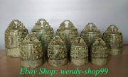 12 Antique Old Chinese Bronze Ware Ancient Instrument Zhong Bell Chime Set