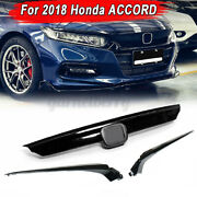 For Honda Accord 10th Gen 2018-20 Jdm Ctr Style Glossy Blk Mesh Front Hood Grill
